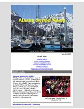 Alaska Synod News - July 30, 2014