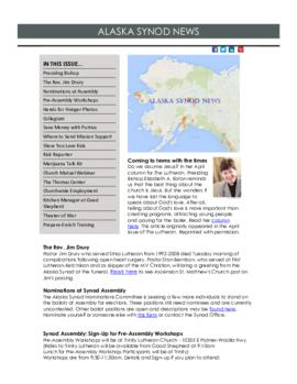 Alaska Synod News - April 8, 2015