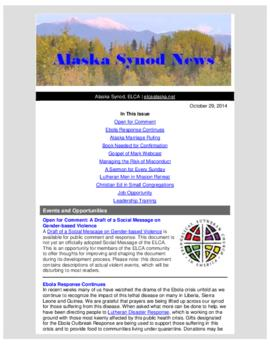 Alaska Synod News - October 29, 2014
