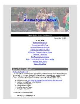 Alaska Synod News - September 25, 2014