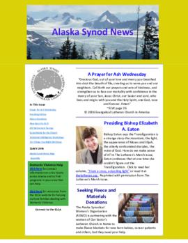 Alaska Synod News - March 5, 2014