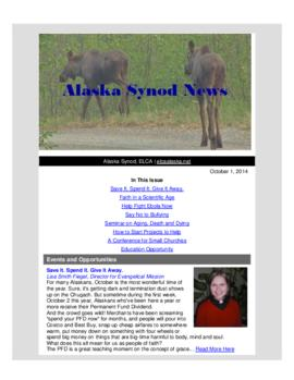 Alaska Synod News - October 1, 2014