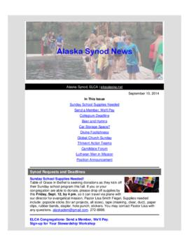 Alaska Synod News - September 10, 2014
