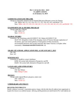 2014-2015 Catalog Clarifications