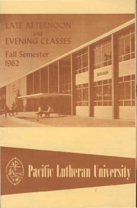 1962 Fall Late Afternoon & Evening Class Schedule