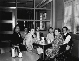 Customers in College Union Building coffee shop