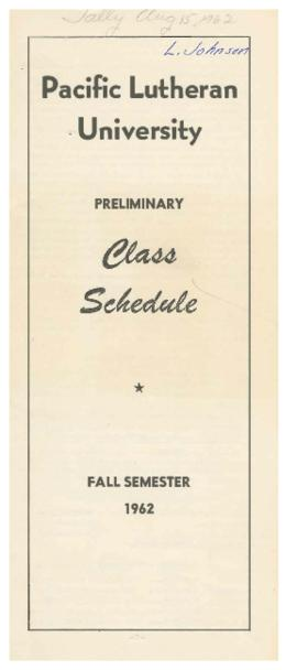1962 Fall Preliminary Class Schedule