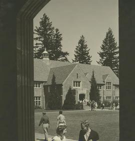 Xavier Hall and Students By Eastvold
