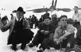PLC staff, students, and alumni in the snow, 1941