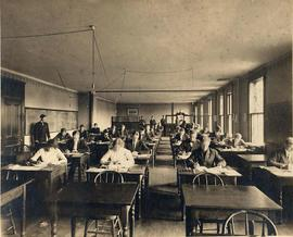 Students in Old Main classroom