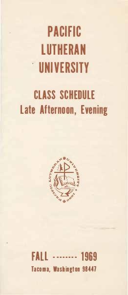 1969 Fall Late Afternoon & Evening Class Schedule
