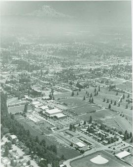 Aerial view of campus, 1970