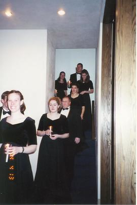 Choir of the West backstage, Christmas Concert 2002