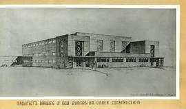 Architect's sketch of Memorial Gymnasium