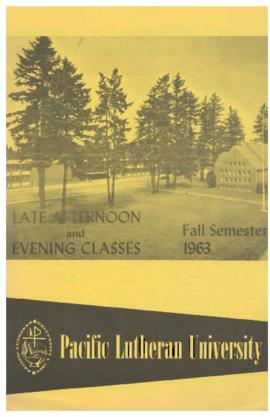1963 Fall Late Afternoon & Evening Class Schedule