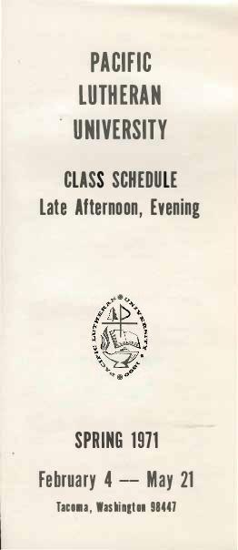 1971 Spring Late Afternoon & Evening Class Schedule