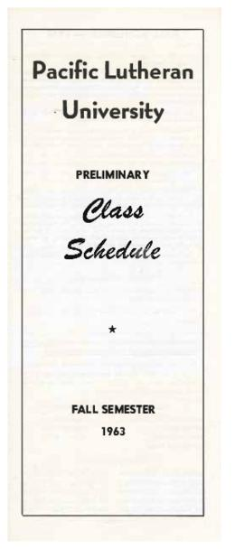 1963 Fall Preliminary Class Schedule