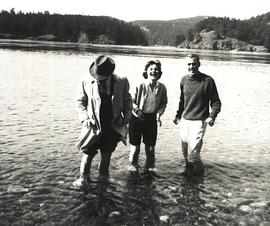 Gordon Gilberson, Carol French, and Wayne Hill wading