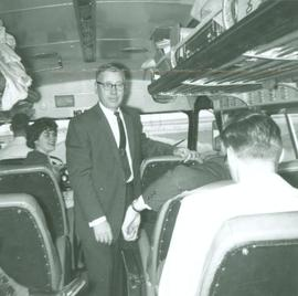 Gordon Gilberson on Orchestra tour bus, 1961