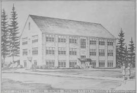 Architect's sketch of Ramstad Hall