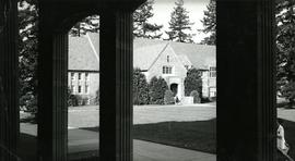 Xavier Hall looking out from Eastvold Chapel