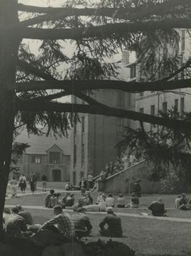 Students on the grass of Old Main