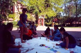 Students painting a banner