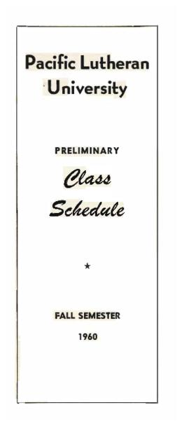 1960 Fall Preliminary Class Schedule