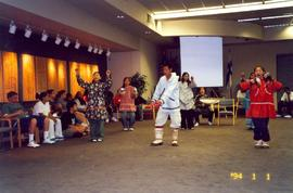 Indigenous students dancing in Scandinavian Cultural Center