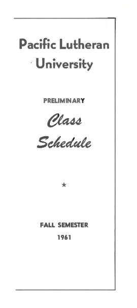 1961 Fall Preliminary Class Schedule