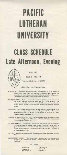 1973 Fall Late Afternoon & Evening Class Schedule