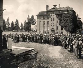 Crowd at Student Union Building cornerstone laying