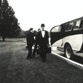 Orchestra tour members with bus, 1961