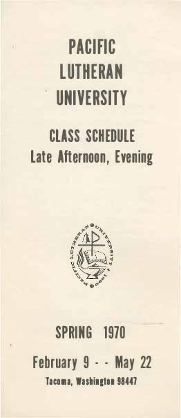 1970 Spring Late Afternoon & Evening Class Schedule
