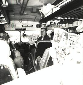 Orchestra tour members on bus, 1961