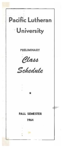 1964 Fall Preliminary Class Schedule